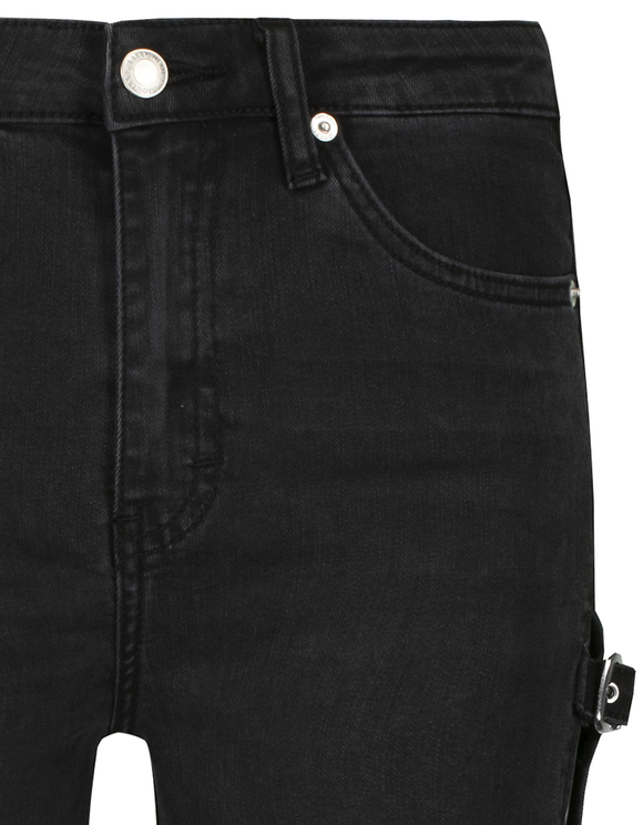 High Waist Skinny Buckle Up Jeans