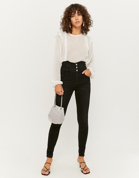 Jeans Skinny con Corsetto a Vita Alta