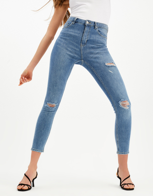 Cropped High-Waist Skinny Jeans