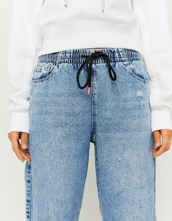 Jean Slouchy Coupe Jogging Taille Haute