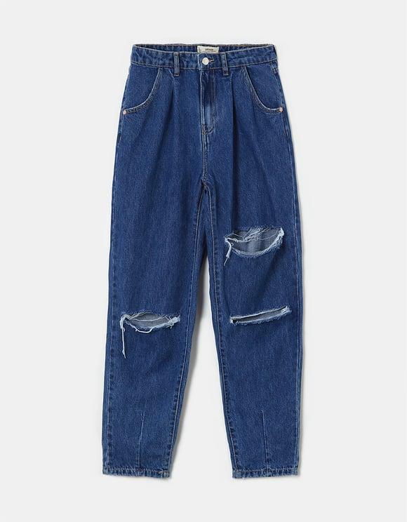 Jeans Slouchy Strappati a Vita Alta