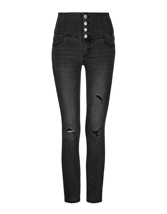 Jeans Destroy a Vita Molto Alta con Bottoni