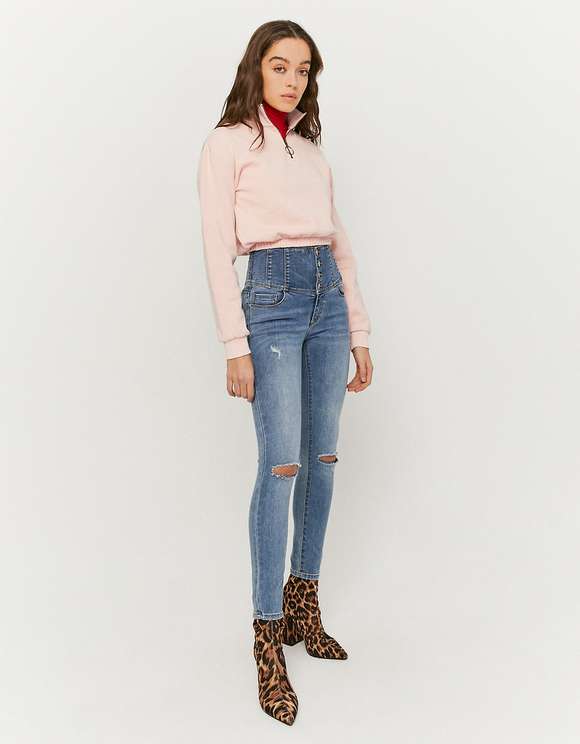 Very High Waist Button Front Destroyed Jeans