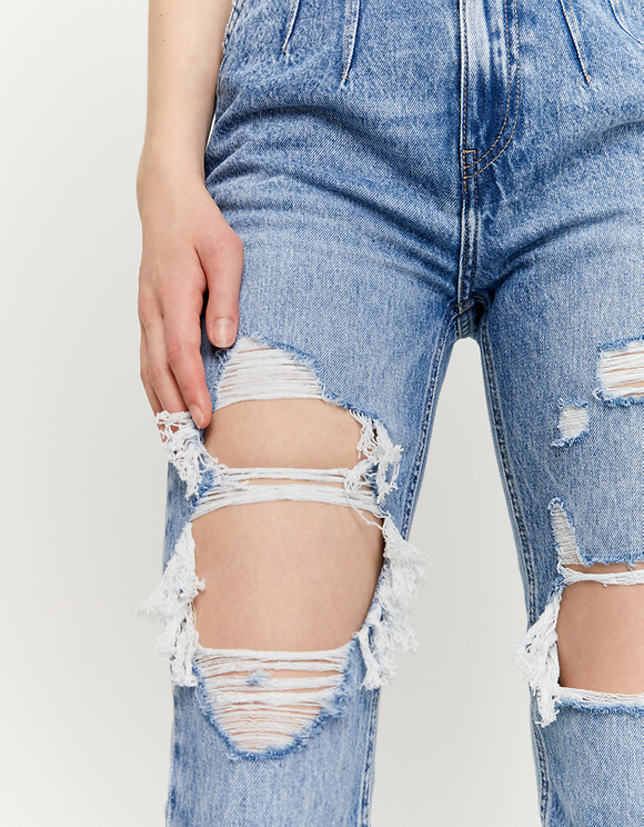 High Waist Mom Ripped Jeans