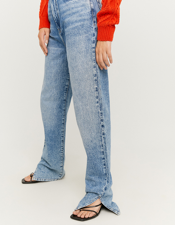 Jeans Straigh con Spacco Laterale