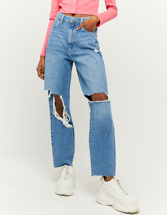 High Waist gerippte Mom Jeans