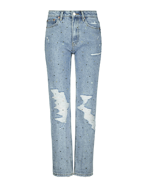 Destroyed Mom Fit Embellished Jeans