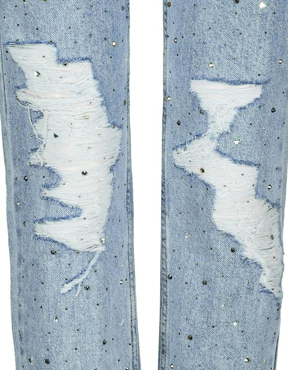 Destroyed Mom Fit Embellished Jeans