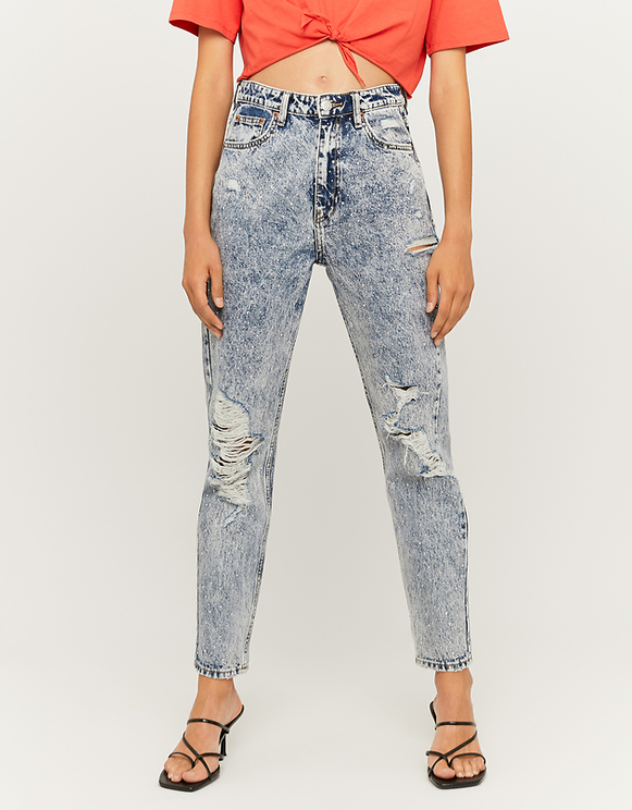 Destroyed Mom Jeans with Rhinestones