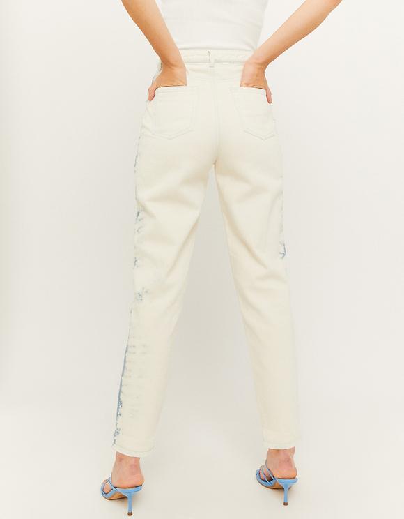 Beige Tie & Dye Mom Jeans