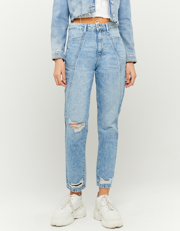 Mom Jeans with Cutouts