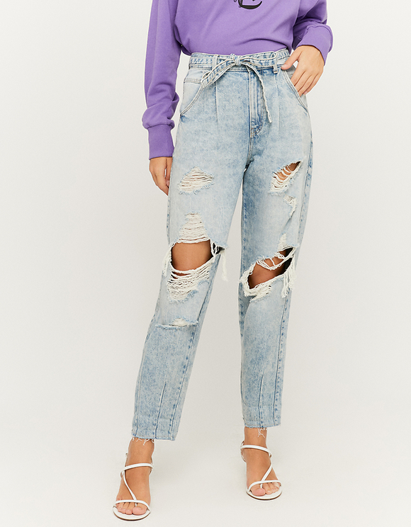 High Waist Slouchy Ripped Jeans