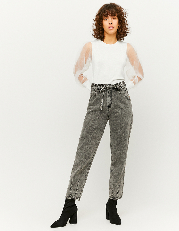 High Waist gerippte Mom Jeans