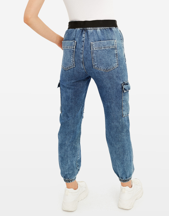 Denim Destroyed Cargo Pants