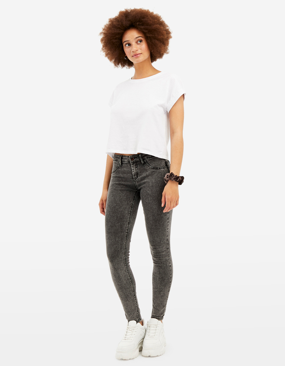 Mid Waist Push Up Skinny Jeans