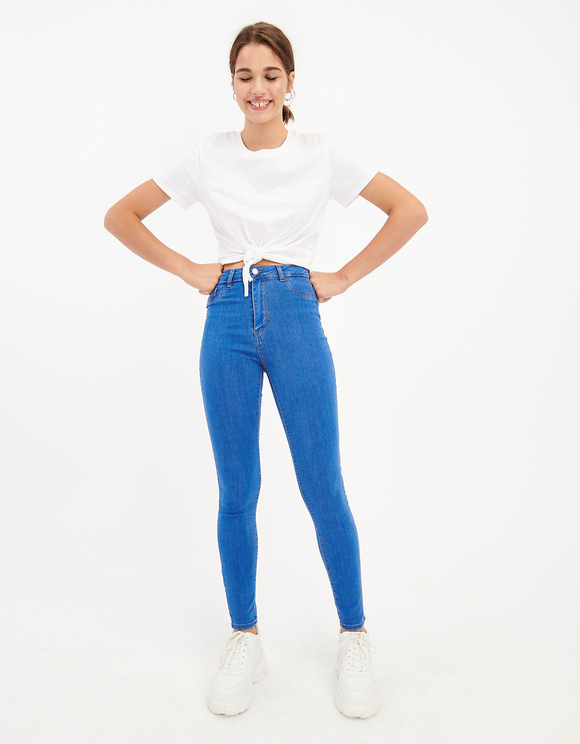 Blue Stone Washed Skinny Jeans