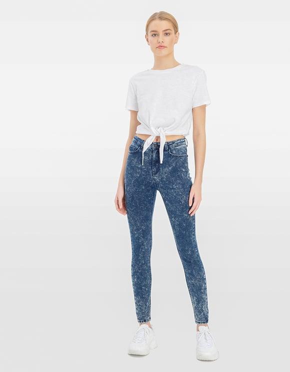 High Waist Acid Wash Jeans