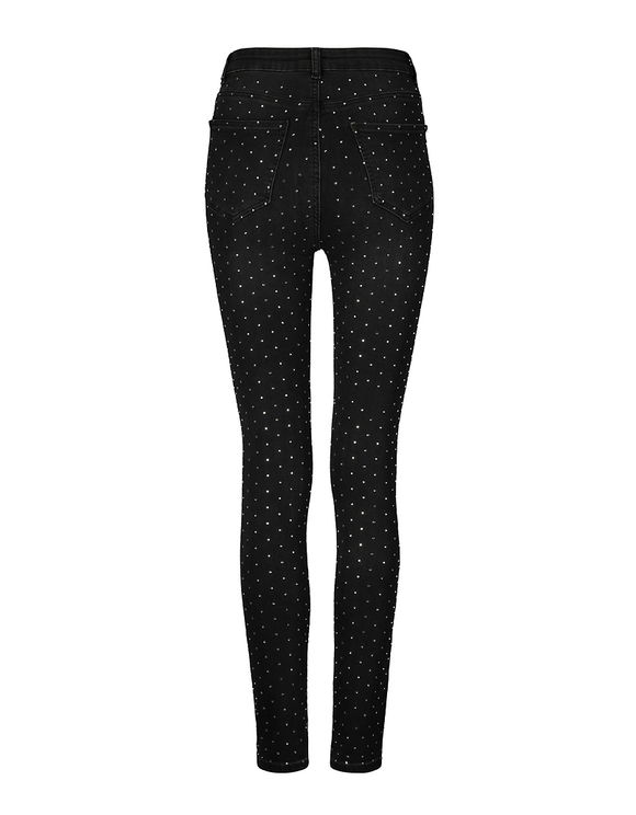 High Waist Skinny Jeans with Allover Strass