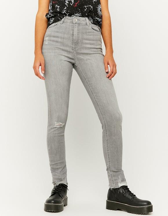 Jeans Skinny Strappati a Vita Alta
