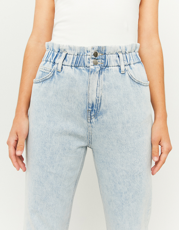 Jeans Paperbag a Vita Alta Blu