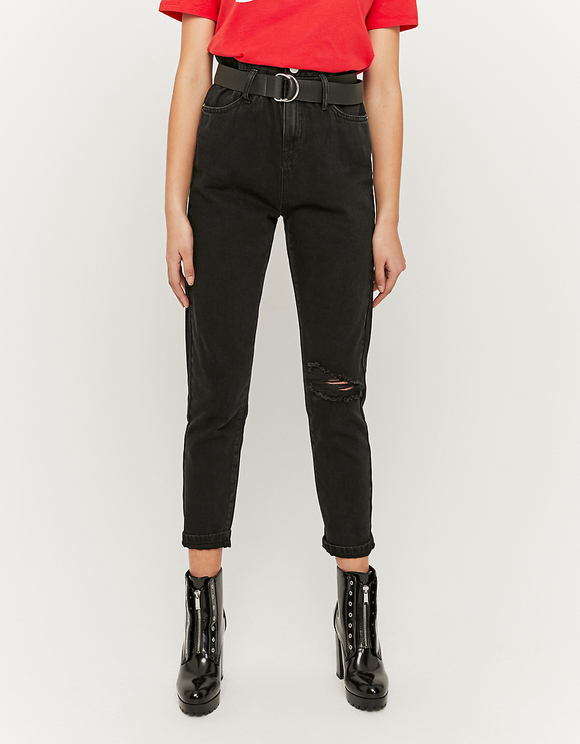 High Waist Paperbag Jeans with Belt