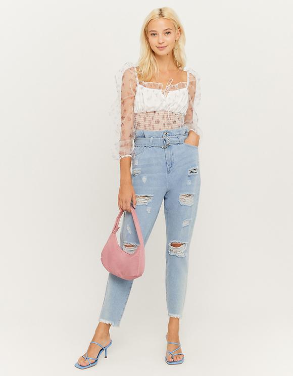 High Waist Slim Paperbag Jeans