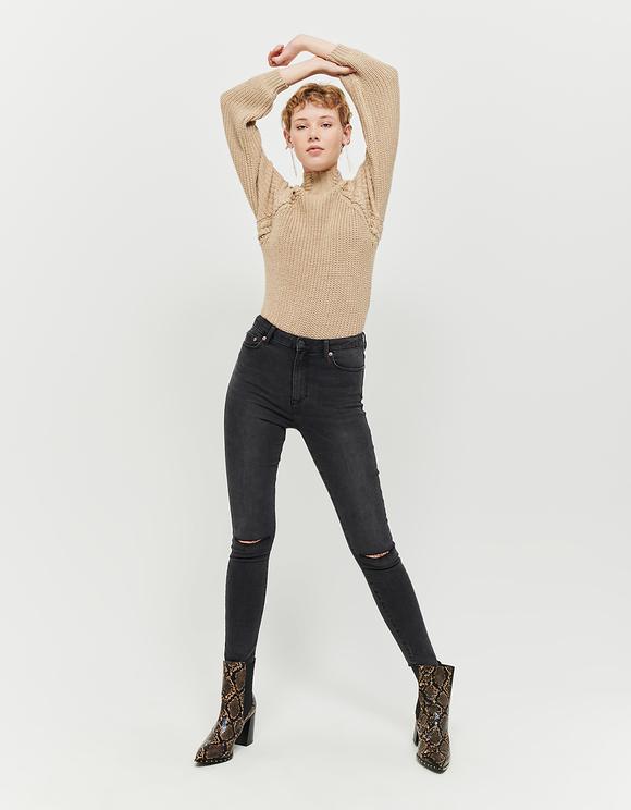 Jean Skinny Taille Haute Destroy