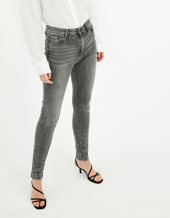 High Waist Studded Skinny Jeans