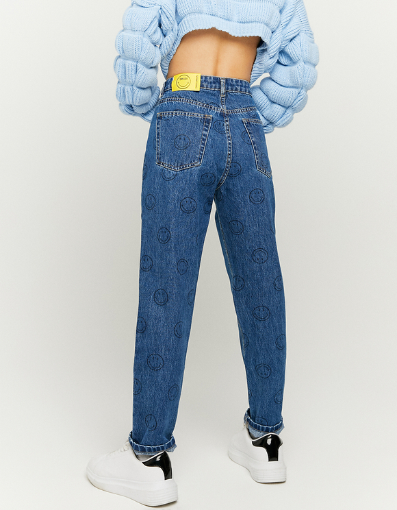 Smiley Print ® High Waist Mom Jeans