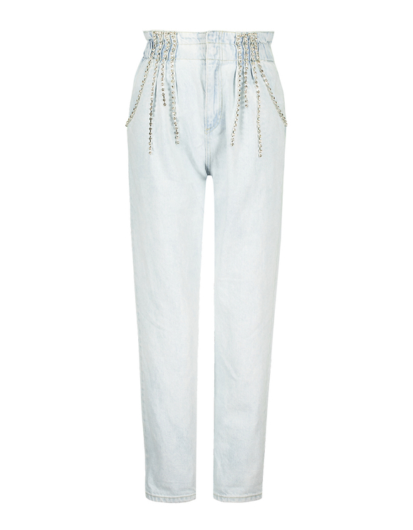 High Waist Paperbag Jeans with Rhinestones