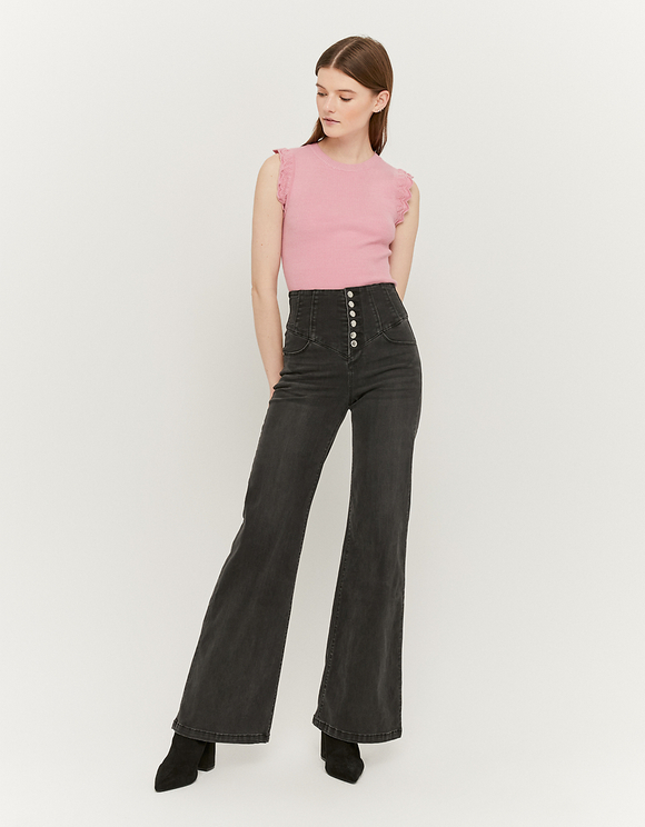 Extra Wide Leg Jeans with Buttons