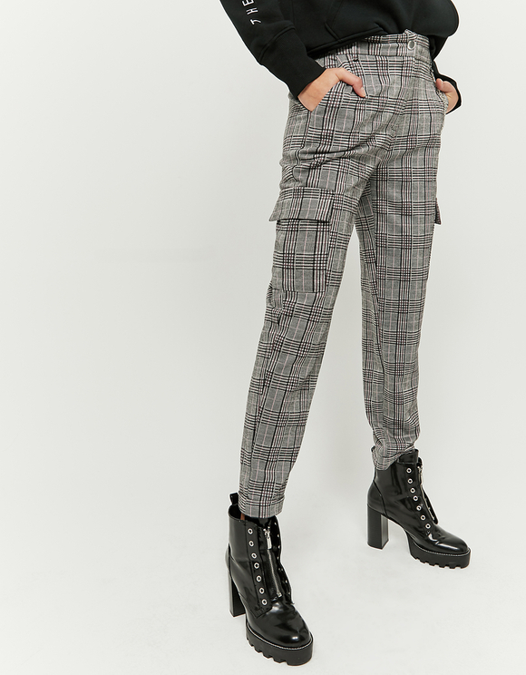 Grey Checked Cargo Pants