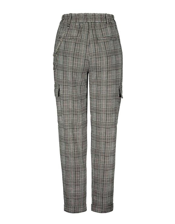 Grey Checked Cargo Pants