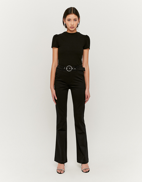 Black Flare Trousers with Belt