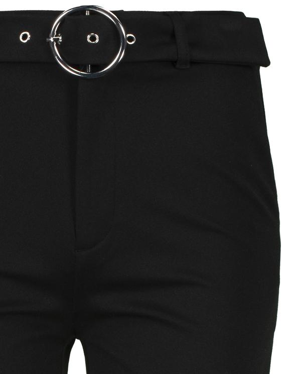 Pantaloni Neri Svasati con Cintura