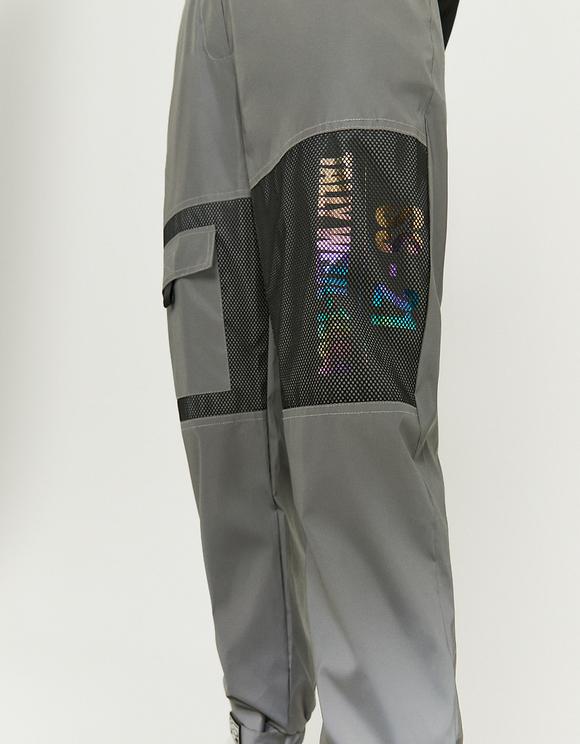 Pantaloni da Jogging in Nylon con Dettaglio a Rete