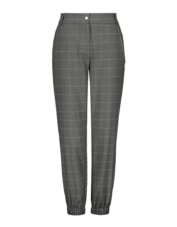 Plaid Check Tapered Trousers