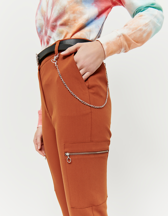 Cognac Cargo Trousers with Zip Detail