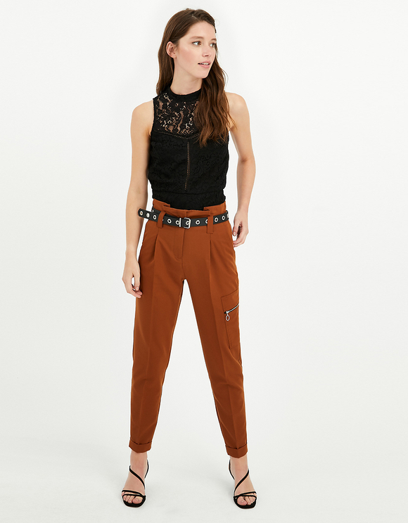 Brown High Waist Tapered Trousers with Belt