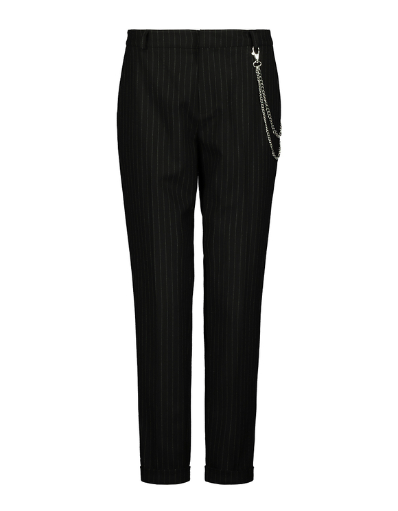 Pinstripe Chain Detail Chino Trousers