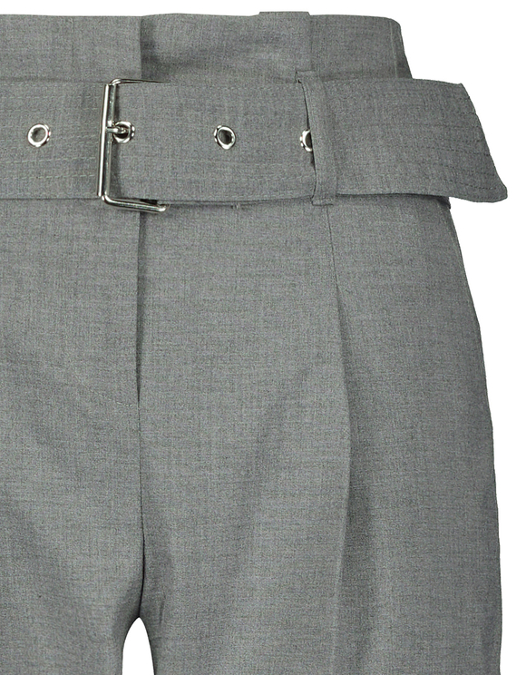 Gray Belted Paperbag Trousers