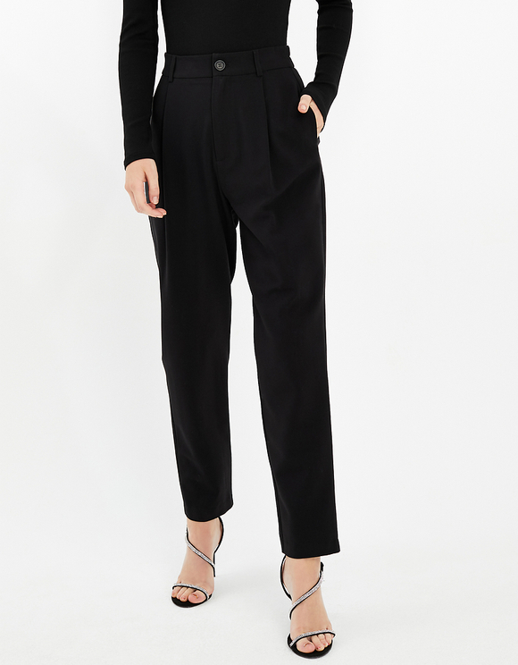 Black Tapered Trousers with Pleat Detail
