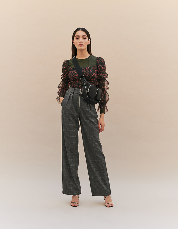 Glen Check Wide Leg Trousers