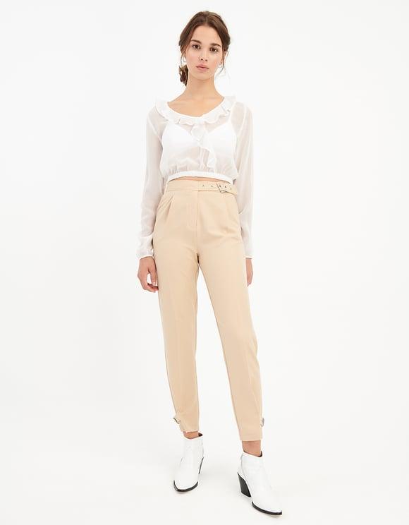 Pantaloni Eleganti Beige a Vita Alta