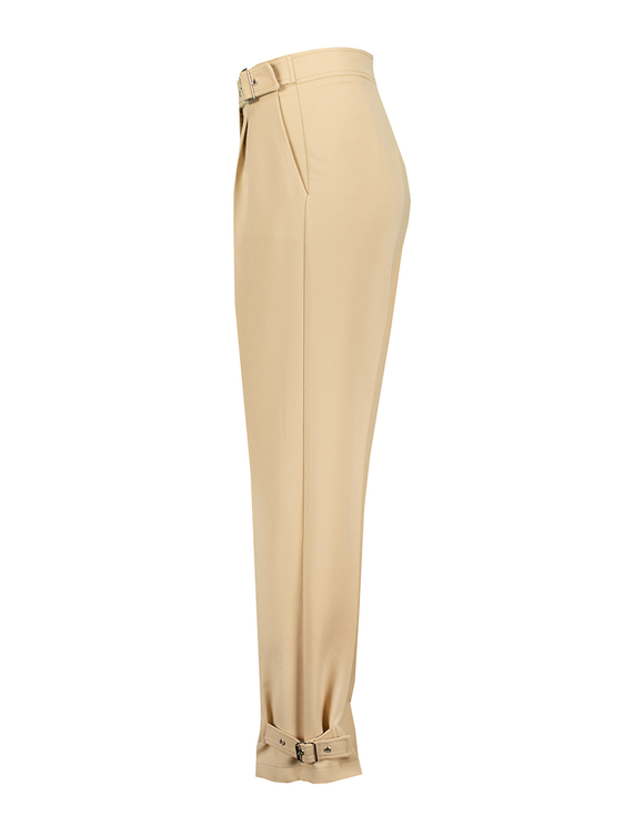 Beige High Waist Tapered Trousers