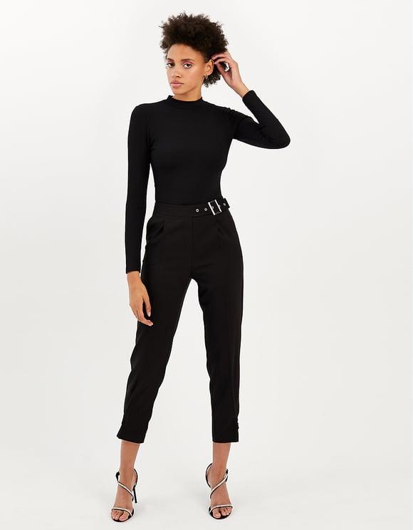 Czarne zwężane spodnie z wysokim stanem