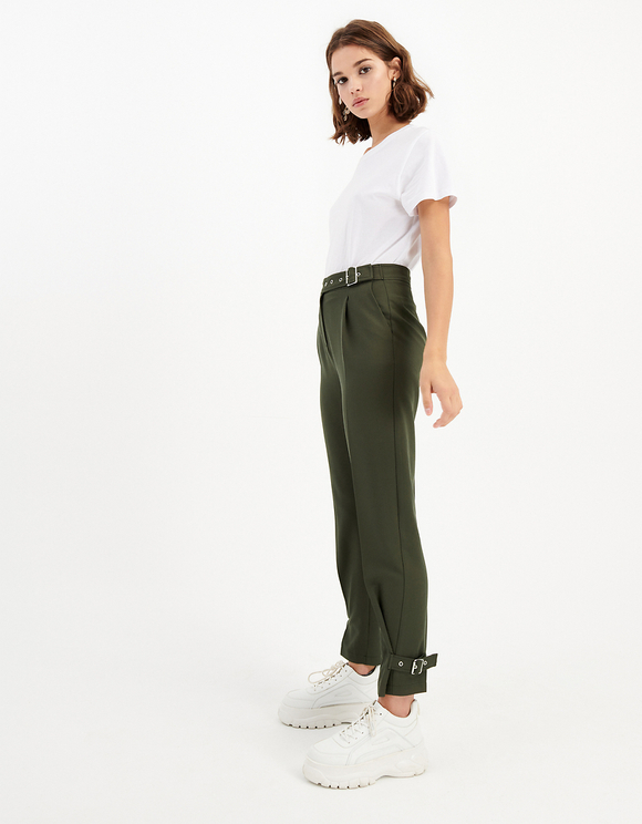 Khaki High Waist Tapered Trousers