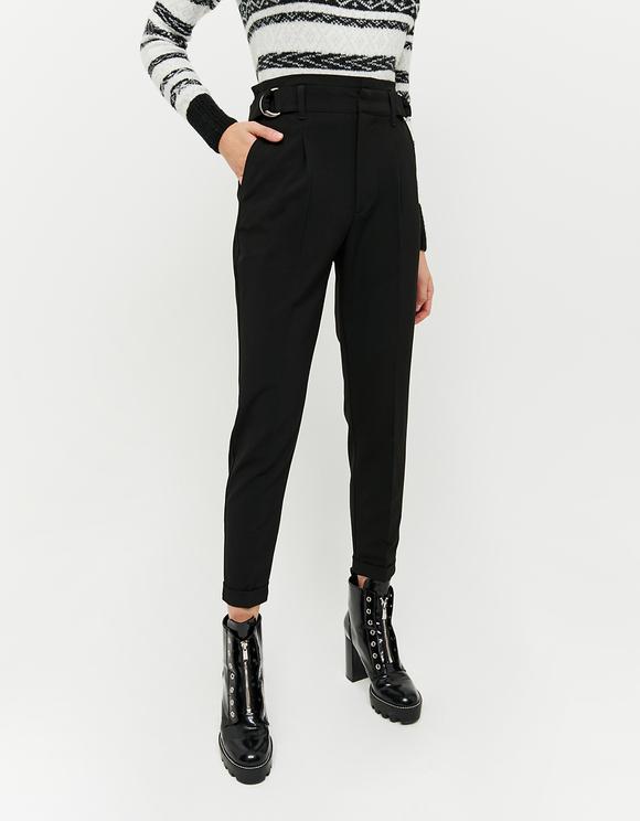 Czarne eleganckie zwężane spodnie