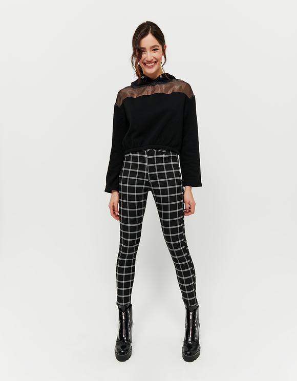Pantalon Taille Haute Skinny à Carreaux