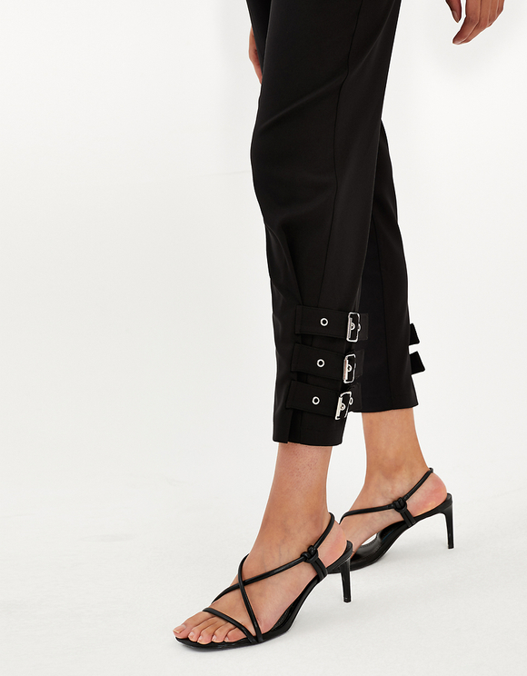 Black High Waist Pants with Buckles